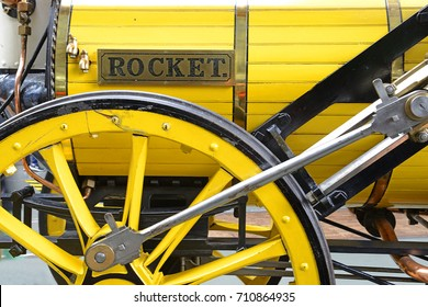 YORK, ENGLAND - JULY 26, 2017: Legendary George Stephenson's Rocket, built 1829 for the L&MR. Great Hall of National Railway Museum. Museum telling the story of rail transport in Britain