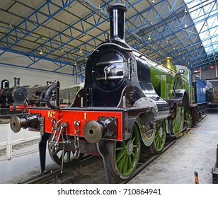 YORK, ENGLAND -JULY 26, 2017: The legendary Flying Scotsman. Great Hall of National Railway Museum. The National Railway Museum telling the story of rail transport in Britain and its impact on society