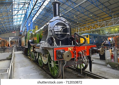 YORK, ENGLAND - JULY 26, 2017: The legendary Flying Scotsman. Great Hall of National Railway Museum. Museum telling the story of rail transport in Britain