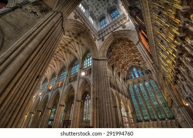YORK, ENGLAND - JUNE 10, 2015: The interior of York Minster (Cathedral).