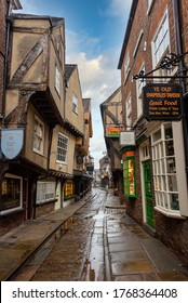 """York, England - June 27th, 2020; Early morning on """"The Shambles"""", a medieval street, and one of the best known in England."""