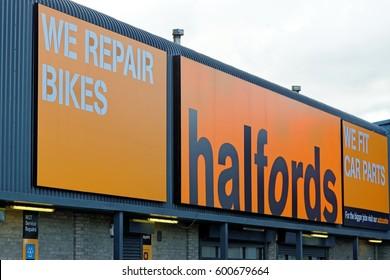 YORK, ENGLAND - JUNE 29, 2016: Halfords MOT service autocentre in York