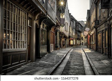 YORK, ENGLAND - MAY 15: Famous The Shambles street in centre of city on May 15, 2018 in York