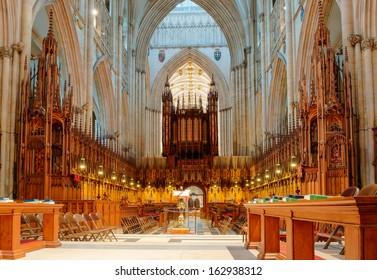 YORK, ENGLAND - OCTOBER 28: Choir area in York Minster on October 28, 2013 in York