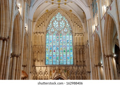 YORK, ENGLAND - OCTOBER 28: West Window above the main entrance constructed in 1338, on October 28, 2013 in York, England.
