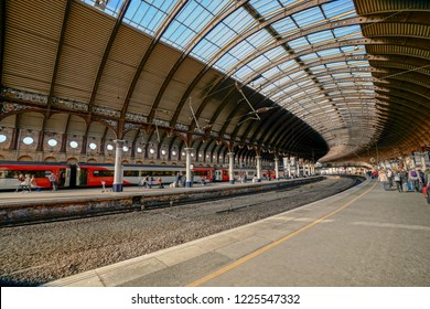 York, England - sept. 2018 : York railway station is a key junction approximately halfway between London and Edinburgh,connecting Scotland and the North East, North West, Midlands and southern England
