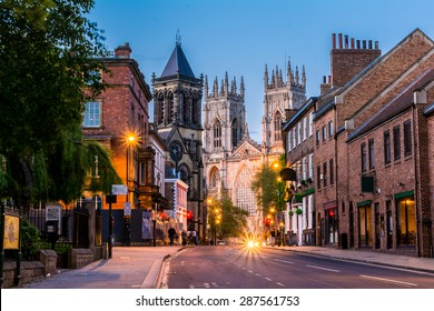 York, evening cityscape view from the street with York Minster in the background.England,United Kingdom,Europe