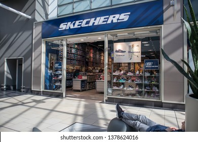 York / Great Britain - March 29, 2019 : Exterior of Sketchers footware store shop showing company logo, sign, signage and branding.  Inside shopping centre mall
