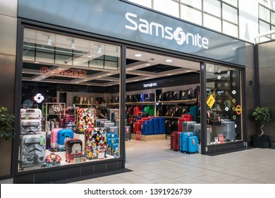 York / Great Britain - March 29, 2019 : Entrance to Samsonite Luggage shop store showing window display, sign, signage, logo and branding.
