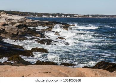 "YORK, MAINE, USA - OCTOBER 10, 2016 : Coastal view near Cape Neddick ""Nubble"" Lighthouse parking with Atlantic ocen and rocky coast."