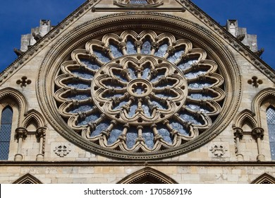 YORK MINSTER 16 APRIL 2020 Rose Window in the South Transept of York Minster, the original window was damaged in 1984 when fire destroyed the roof of the South Transept