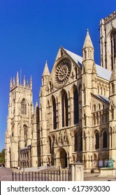York Minster cathedral in United Kingdom. Historical building in gothic style in UK.