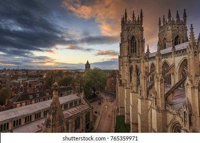 York Minster in the City of York England looking over the streets from above at sunset.