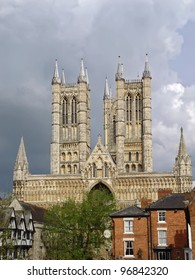 York Minster Gothic cathedral in York, England dominate over city. The  second largest  in Northern Europe