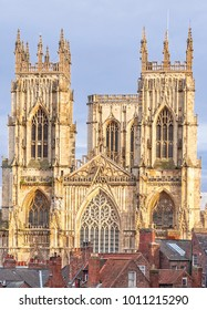 York Minster rising above a number of town houses.