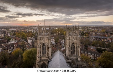 York Minster from the roof looking over the city of York at sunset.