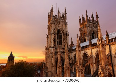 York Minster at sunset in autumn