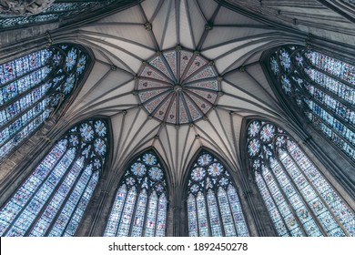 York, North Yorkshire   UK -  2020.09.11: Beautiful empty interior of the York Minster Iconic Gothic style medieval cathedral