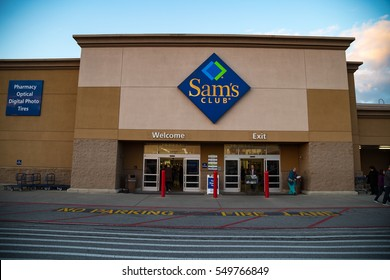 York, PA - December 30, 2016: Sam's Club entrance. Sam's Club is an American chain of membership-only retail warehouse clubs operated and owned by Walmart.