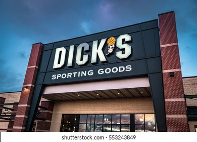 York, PA - December 30, 2016: Exterior of Dick's Sporting Goods retail store including sign and logo.