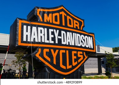 York, PA - September 23, 2016: A large blow up sign at the annual Harley-Davidson Factory Open House.