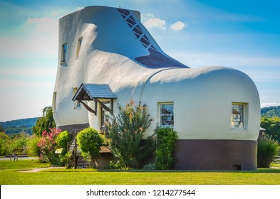 York, PA / USA - August 24, 2013:The Haines Shoe House is a shoe-shaped house tourist attraction on the Lincoln Highway across America.