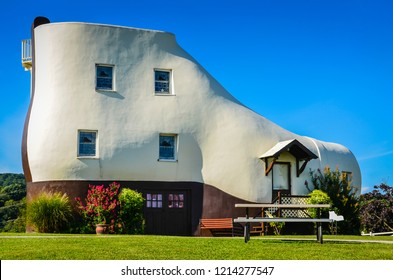 York, PA / USA - August 24, 2013: The Haines Shoe House is a shoe-shaped house and tourist attraction on the Lincoln Highway.