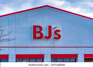 York, PA, USA - January 26, 2019: BJs Wholesale Club is an American membership-only warehouse chain operating in the Eastern United States. The club has over 200 locations.