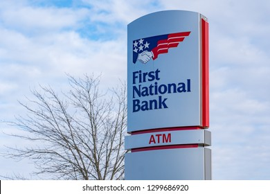 York, PA, USA - January 26, 2019: A First National Bank Branch Office, which is a subsidiary of F.N.B. Corporation, that is based in Pittsburgh, Pennsylvania, with over 400 locations in six states.