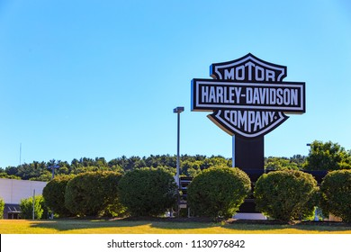 York, PA, USA – July 7, 2018: The Harley Davidson Company sign at the company's factory in York, Pennsylvania.