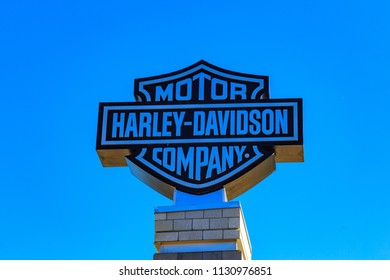 York, PA, USA – July 7, 2018: The Harley Davidson Company logo sign at the factory in York, Pennsylvania.