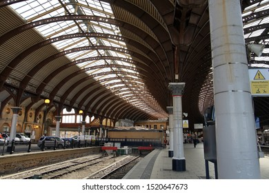 York railway stations large ornate curving wide span roof with wrought iron arches on cast iron columns support York Yorkshire England 02/10/2019 by Roy Hinchliffe