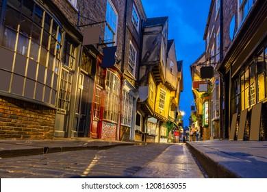 York shambles alley sunset dusk, York Englsnd UK