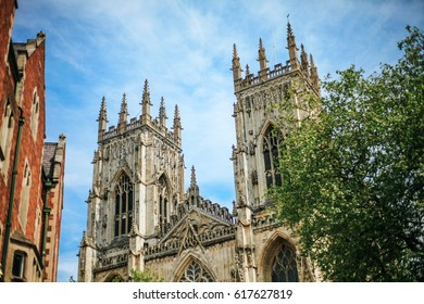 York, UK - 24 June 2016: York Minster is one of the largest cathedral in Northern Europe. The present Gothic style church was built over 250 years, between 1220 and 1472.