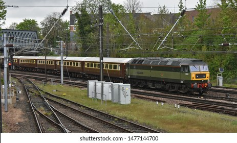 York Uk 27 04 2019 Heritage Diesel locomotive passing Holgate, on the approach to York Station with a Charter train consisting of Pullman carriages