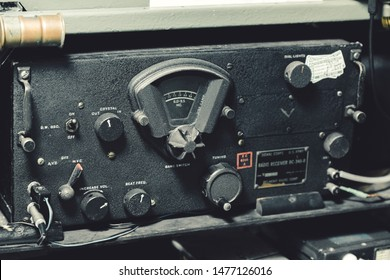 YORK, UK - 6TH AUGUST 2019: A radio receiver bc-348-r on display inside a Douglas Dakota IV aircraft