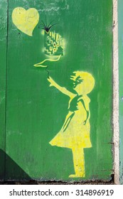 YORK, UK - AUGUST 25TH 2015: A Banksy-style Stencil Graffiti in York, on 25th August 2015.