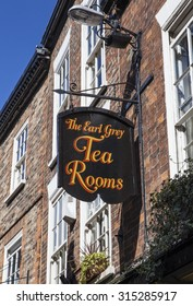 YORK, UK - AUGUST 27TH 2015: The sign for The Earl Grey Tea Rooms down The Shambles in York, on 27th August 2015.
