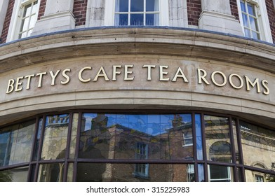 YORK, UK - AUGUST 28TH 2015: A sign for the famous Bettys Tea Rooms in York, on 28th August 2015.
