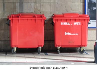 YORK, UK - CIRCA AUGUST 2015: Red waste containers aka Litter bin garbage bin trash bin or waste bin