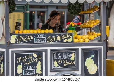YORK, UK - JULY 18, 2018. A lemonade stand selling freshly squeezed lemonade on the city streets of York, UK.