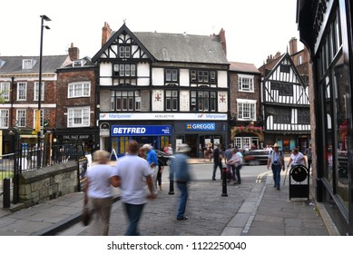 York, UK  - July 22,2016: Shambles Market, a historic and vibrant market situated in the heart of the city of York, is a source of exceptional fresh produce and unique crafts