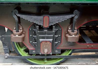 York / UK - July 28 2019: Close up of steam railway engine wheel in National Railway Museum, York, UK
