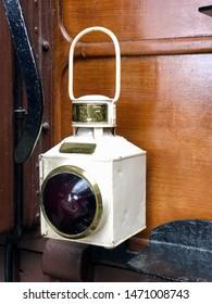 York / UK - July 28 2019: Railway lamp in National Railway Museum, York, UK