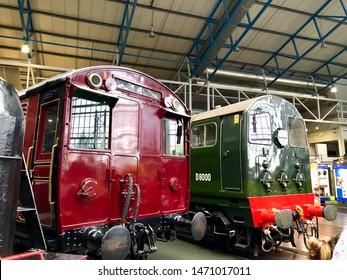 York / UK - July 28 2019: Steam Train on display in National Railway Museum
