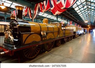 York / UK - July 28 2019: Royal Steam Trains on display in National Railway Museum