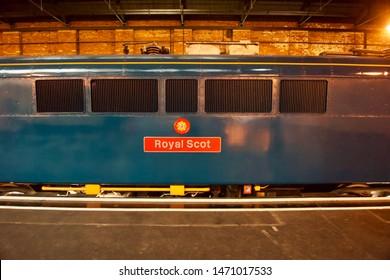 York / UK - July 28 2019: Vintage Diesel Train in National Railway Museum