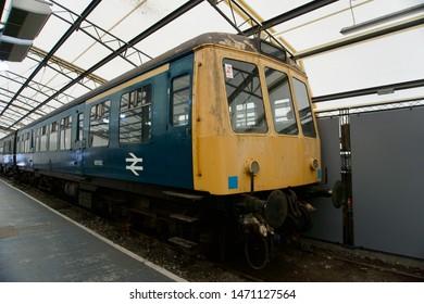 York / UK - July 28 2019: Vintage diesel passenger train in National Railway Museum