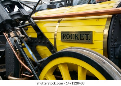 York / UK - July 28 2019: Reproduction Rocket Steam Train in National Railway Museum