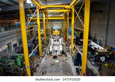 York / UK - July 28 2019:  Railway Museum maintenance hangar